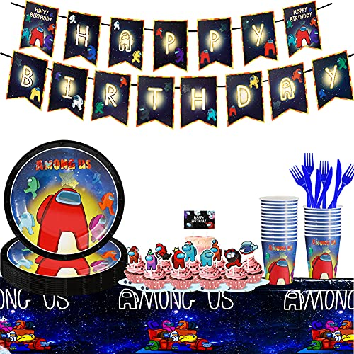 Among Us Party Supplies Decorations Set, 93 Pcs Birthday Party Supplies for 20 Guests, Party Plates Cups and Napkins Table Cloth Banner Paper Plates Birthday Party Decorations for Girls