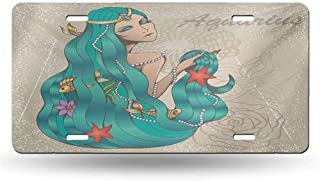 dsdsgog Personalized License Plates Zodiac Aquarius,Lady with Pearls Flowers Starfish Sexy Fantasy Character Graphic Design,Multicolor 12x6 inches,Boys 6 inch X 12 inch