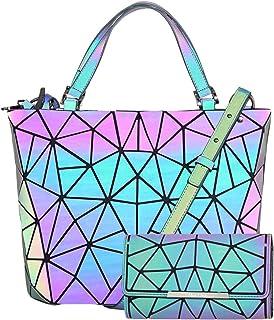 HotOne Geometric Purse Holographic Purse and Handbag Color Changes Luminous Purse and Wallet Set for Women