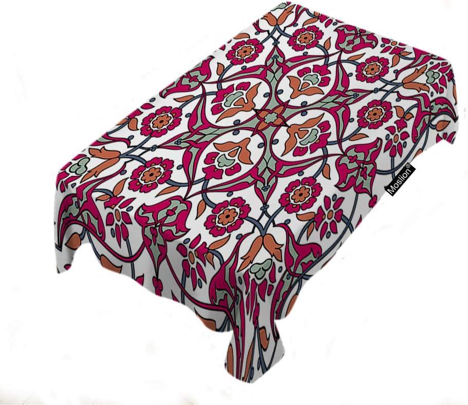 Moslion Retro Flower Print Tablecloth 60x104 輸入 Inch Decorative Vin いよいよ人気ブランド