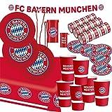 FC Bayern München Set de fiesta de fútbol, 34 piezas, para aficionados al fútbol, decoración para fiestas de fútbol y cumpleaños