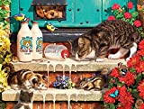 Puzzles for Adults 1000 Pieces Wooden Jigsaw Puzzle Naughty Cats Kitten Drinking Milk Challenging Puzzle Kids DIY Toys Wall Hanging for Home Decor, 52x38cm/20.49x15in