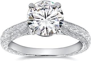 Kobelli Antique Style Moissanite Engagement Ring 1 1/2 CTW 14k White Gold