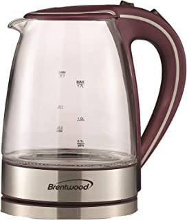Brentwood KT-1900PR Cordless Electric Kettle Glass, 1.7L, Purple