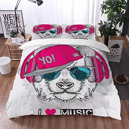 Qinniii Bedsure Funda Nórdica,Panda Gafas Auriculares Wild Hiphop Sketch Canción a Mano alzada Sombrero Animales Hound Wildlife Vintage,Fundas Edredón 135 x 200 cmcon 1 Funda de Almohada 40x75cm