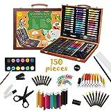 Kiddycolor - Juego de arte de 150 elementos con lápices de colores, pasteles al óleo y pinceles para principiantes, estudiantes o niños