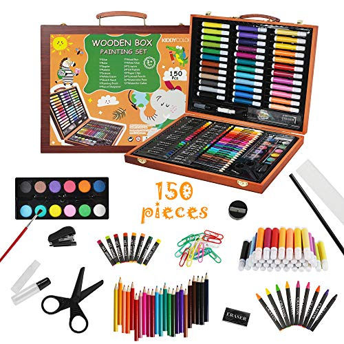 KIDDYCOLOR 150 Pieces Kids Deluxe Artist Drawing & Painting Set, Portable Wooden Case with Oil Pastels, Crayons, Colored Pencils, Markers, Gift for Kids Teens