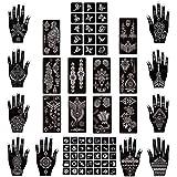 Xmasir Henna Tattoo Stencils Kit Pack of 22 Sheets, Temporary Tattoo Templates Indian Arabian Tattoo Sticker for Hands Body Art