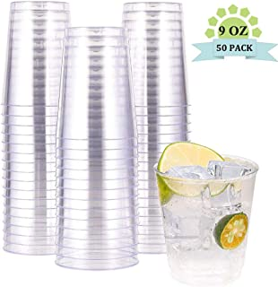 IOOOOO 50 Pack Clear Disposable Cups 10 oz, Premium Quality Plastic Tumblers, Recyclable and BFA- Free