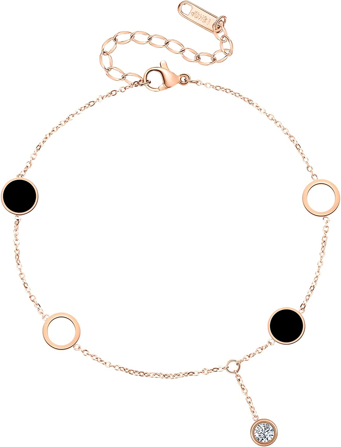 T400 Gold Rosegold Layered Rope Chain Link Bracelet with Crystal Cubic Zirconia Gift for Women Girls
