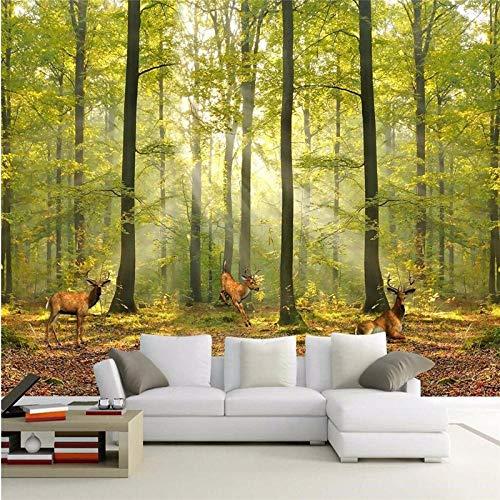Muurschildering achtergrond eigen behang luxe kwaliteit Hd natuurlijk zonlicht bos hert 3D wallpaper Mural 250 * 175cm