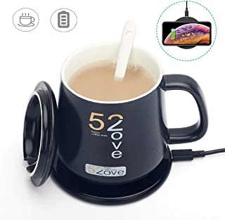 Coffee Mug Warmer with Wireless Charger, REEXBON 2 in 1 Wireless Heating Beverage Warmer Electric Cup Warmer, Constant Temperature 122 ° F Desktop Mug Warmer For Office Home Use
