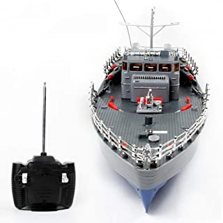 ZQYR GAME# RC Torpedo Boat 1/115 4CH Large RC Boat Fast & Furious Military Ship Electric Warship Model Aquatic Speedboat Naval Vessel Machine Toy for Adults & Kids, Model: HT-2877A