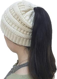 Vapelas Beanie Tail Soft Stretch Cable Knit Messy High Bun Ponytail Beanie Hat Women Winter Ski Ponycap
