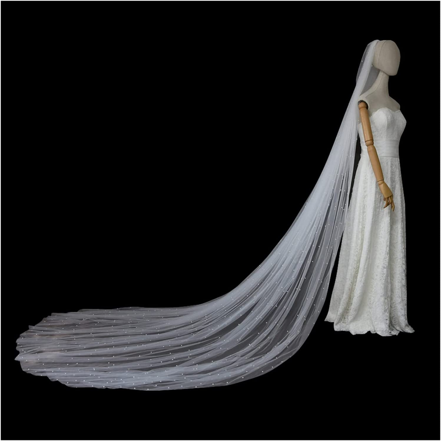 HEMOTONE Pearl Wedding Tulle Veil Sof specialty shop Bridal Cathedral Long Max 52% OFF