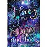 DIY 5D Diamond Painting by Number Kits, Crystal Rhinestone Diamond Embroidery Paintings Pictures Arts Craft for Home Wall Decor, Full Drill,I Love You to The Moon and Back (J4764XKMY-11.8X15.7in)