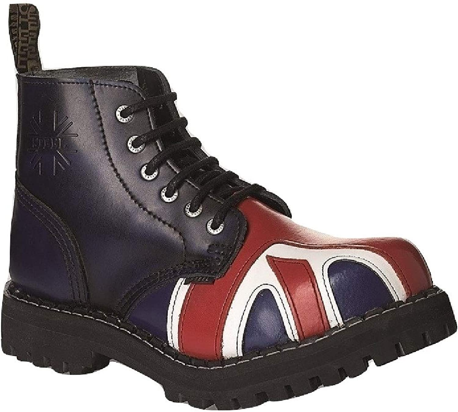 Steel Combat Boots Unisex Men's Ladies Leather bluee Rub Off Union Jack Flag 6 Eyelets Army Punk Toe Cap