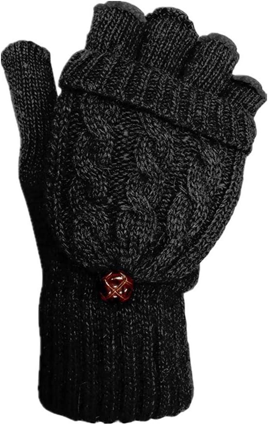 BOSSTER Guantes sin Dedos de Mujeres Manoplas de Punto de Invierno Guantes Convertibles con Cubierta para D/ías Fr/ías para Damas y Ni/ñas