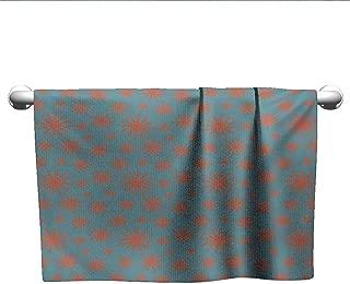 Bensonsve Bath Towel Floral,Retro Vintage 58s 50s Inspired Flower on a Blue Tone Backdrop Image,Petrol Blue Dark Coral,Suction Towel bar for Shower