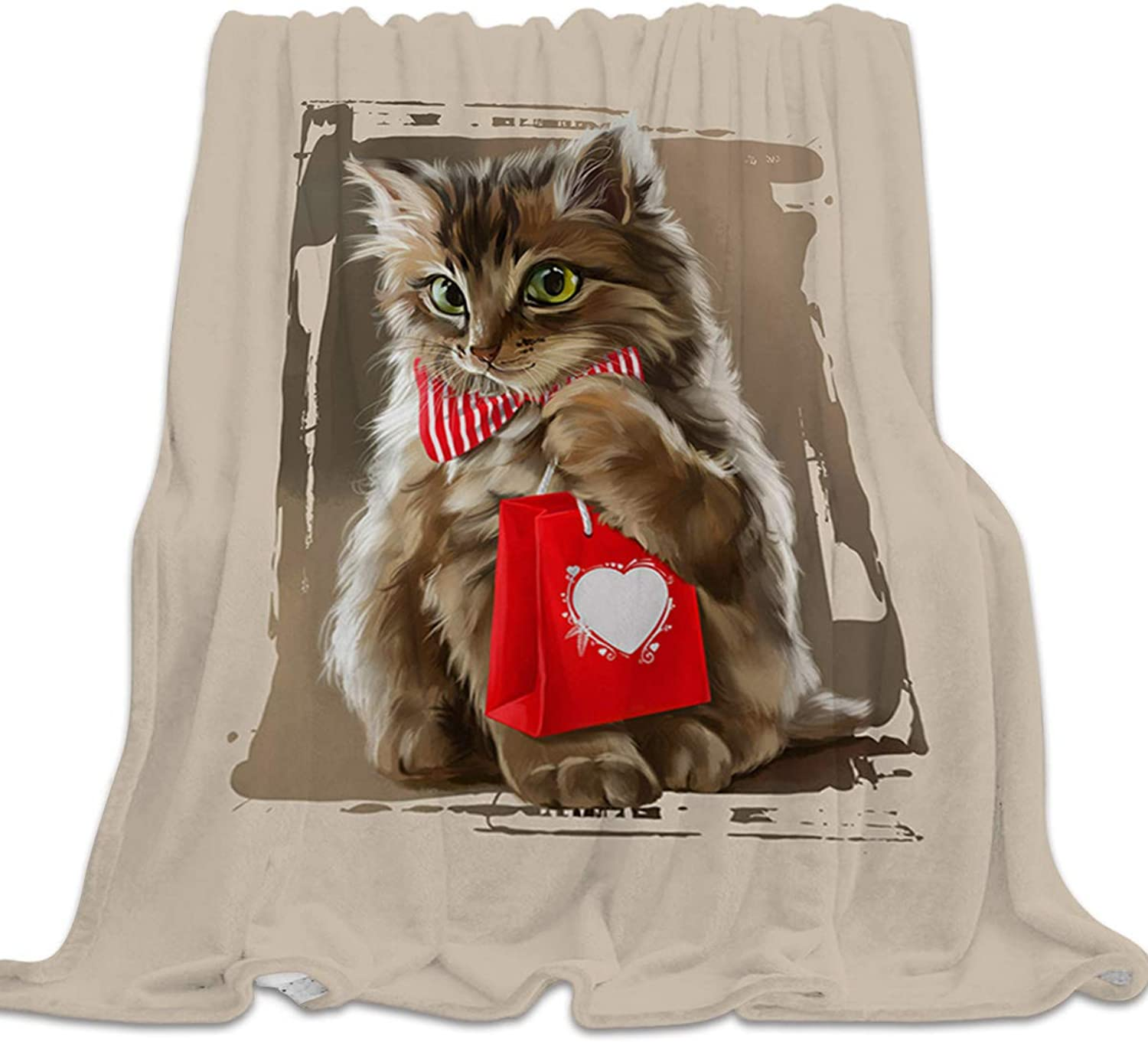 YEHO Art Gallery Soft Flannel Fleece Bed Blanket Throw-Blankets for Girls Boys,Cute 3D Cat Holding Gift Animal Pattern,Lightweight Warm Blankets for Bedroom Living Room Sofa Couch,39x49inch