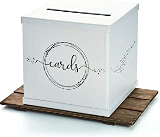 Hayley Cherie - Silvery White Gift Card Box with Black Foil Printed Design- Textured Finish - Large Size 10