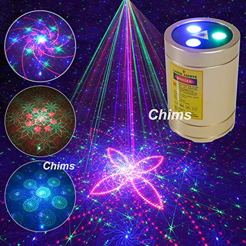 Chims Mini Laser Lights Portable Cordless RGB 30 Patterns Laser Music Sound Activated Laser Lights for Festival Family School Disco Party Birthday Gift DJ Party Outdoor Travel Garden Forest Camping