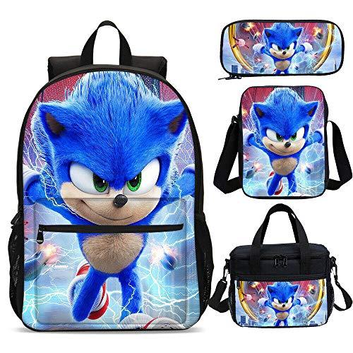 Juego de Mochila Escolar de 4 Piezas, Mochila de Juego 3D Sonic Anime, Mochila para niños Mochila con Estuche de Almuerzo