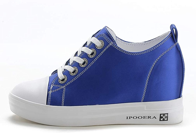 CYBLING Woherrar Hidden Heel Wedges Platform skor skor skor Casual High Lace Up vit svart Flat skor  online outlet försäljning
