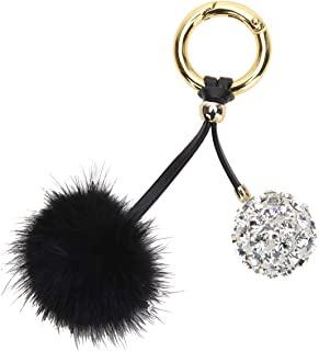 Fawziya Crystal Ball Keychain With Fur