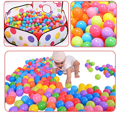 Hi Suyi Ball Pit Balls 200/Pack Colorful BPA Free Crush Proof with Mesh Bag for Toddlers Baby Playpen Play Tent House Swim Pool Toys (Only Balls)