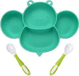 Vicloon Babyzuigplaat, antislip siliconen baby verdeelde placemat, peuter babyvoederplaat met buigbare vork en lepel voor ...