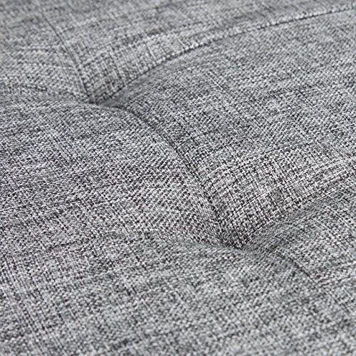 Relaxdays faltbare Sitzbank XL, Leinen, grau, 76x38x38cm - 6