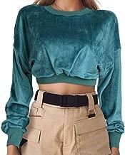 GUYUEQIQIN Women's Crop Hoodies, Velvet Pullover Long Sleeve Short Tops Crewneck Casual Sweatshirt