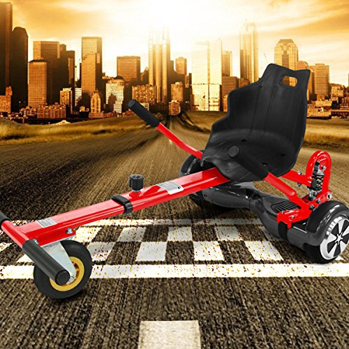 """Hoverkart mit LED-Beleuchtung für Hoverboard E-Scooter Hover Seat GoKart Self Balance Scooter Sitz (6,5\"""" / 8,0\"""" / 10\"""") verstellbar (rot)"""