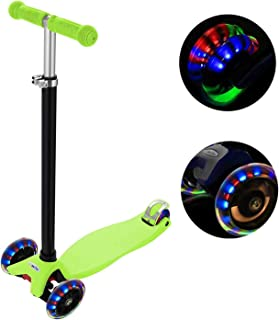 Profun Patinete de 3 Ruedas Scooter con Led Luces Manillar