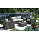 Living Source International Patio Sofa Set Camden Collection 5 Piece Club Seating Group with Cushion [CM-3410] (5 Piece, Camden Brown)