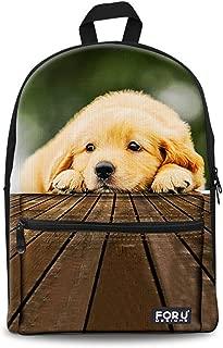 Youngerbaby Cute Cat Print Design 14 Inch Laptop Backpack Bag Durable School Bag (Cute Dog)