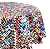 Wachstuchtischdecke glatt abwischbar OVAL RUND ECKIG, Wachstuch Garten Tischdecke, Größe und Motiv wählbar (Eckig 140x160 cm Mosaik-bunt)