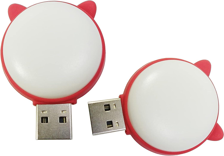 Meiyangjx USB Led Lamp Camping Night Light, Mini Portable Keychain Lights for Power Bank PC Laptop (2 Pack-Cat Warm&White)