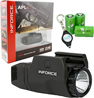InForce APLc Weapon Mounted Light 200 Lumens (Not Glock) Bundle with 3 Viridian CR2 Batteries and a Lumintrail Keychain Light