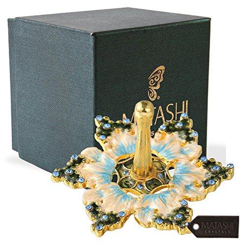 Matashi Hand-Painted Spinning Dreidel Holiday Ornaments (Pewter) Elegant Jewish Decor Hanging Decoration for Home Gold-Plated, Vintage Design, Embellished Crystals Judaica