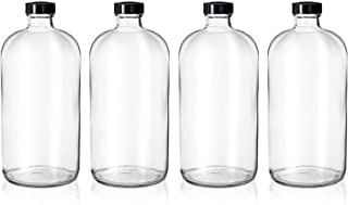 4 Pack - 32oz Kombucha Brewing Bottles - Boston Round Clear Glass Growlers with Phenolic Poly Cone Insert Caps - Tight Seal for Secondary Kombucha Fermentation