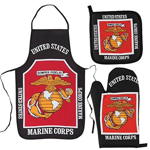 U.S. Marine Corps Kitchen & BBQ SetNew w/ Apron, Oven-mitt and Pot holder United States Marines