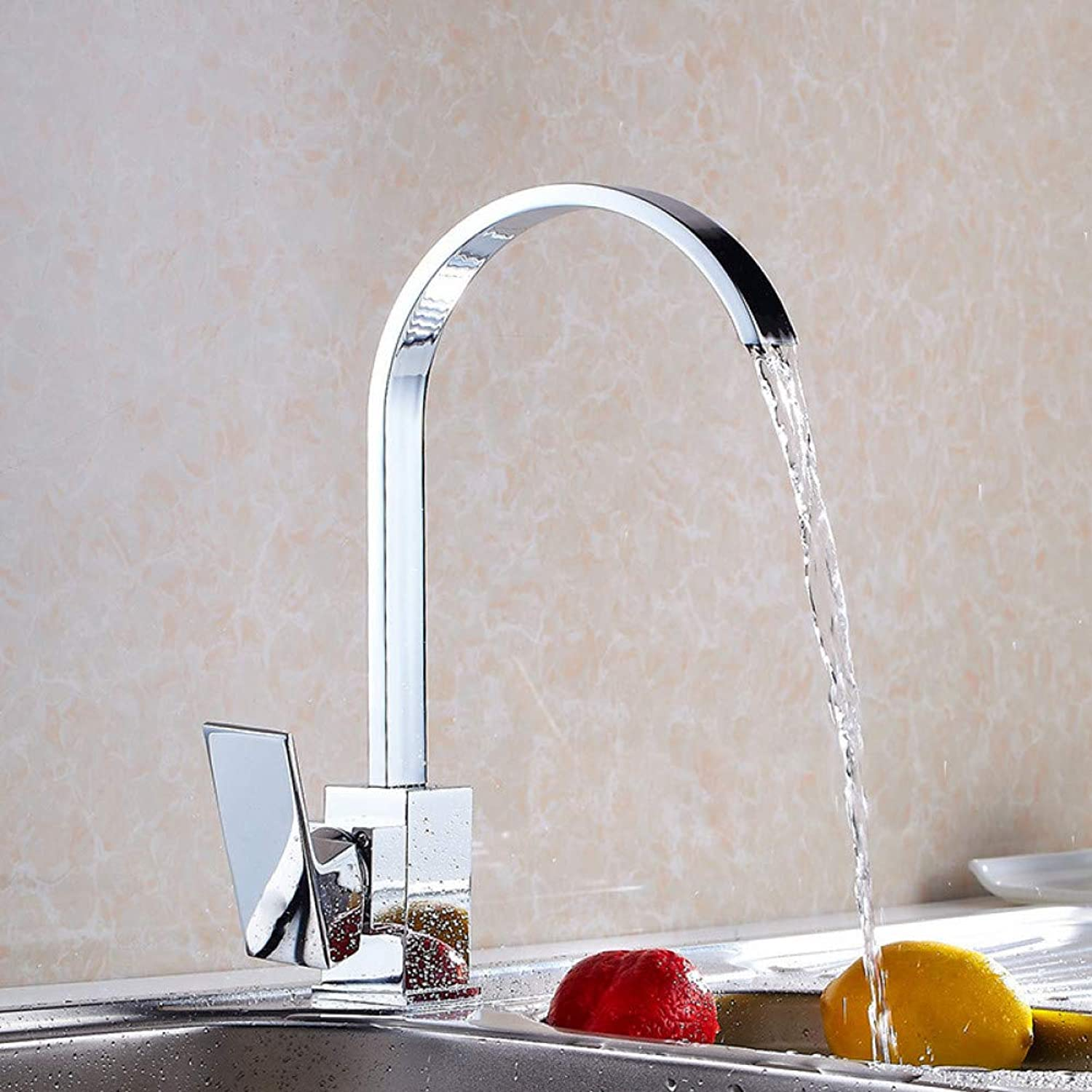 YHSGY Kitchen Taps Copper Kitchen Faucet Sink Sink Basin Above Counter Basin Hot and Cold Water Faucet Square Flat Tube Can Be redated
