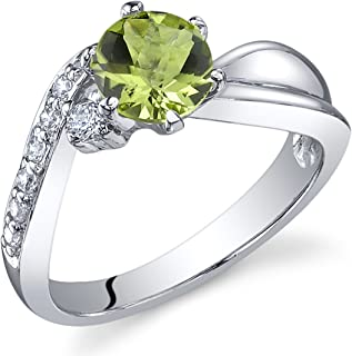 Ethereal Curves 0.75 carats Peridot Ring in Sterling Silver Rhodium Nickel Finish Sizes 5 to 9