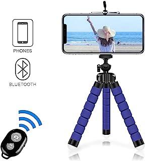 Alfort Mini Trípode Trípode Móvil Flexible 360°Rotación Teléfonos de Soporte con Control Remoto Portátil Trípode para iPhone 8/8 Plus/Samsung Galaxy/Huawei y Otros iOS/Android (5.5 Azul Oscuro)
