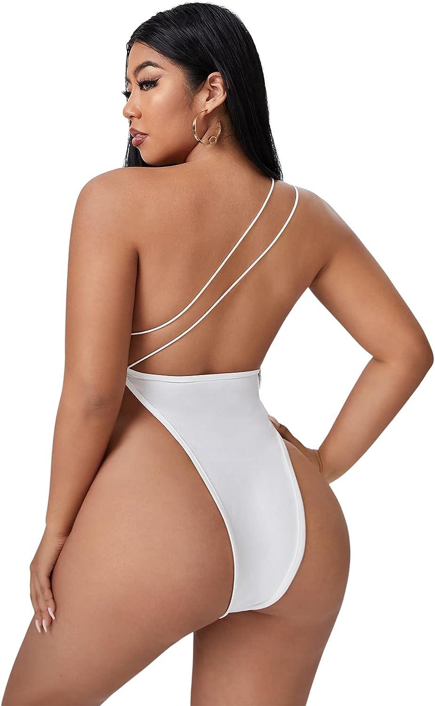 SheIn Women's Plus One Shoulder Strappy Backless Skinny Leotard Bodysuit Top