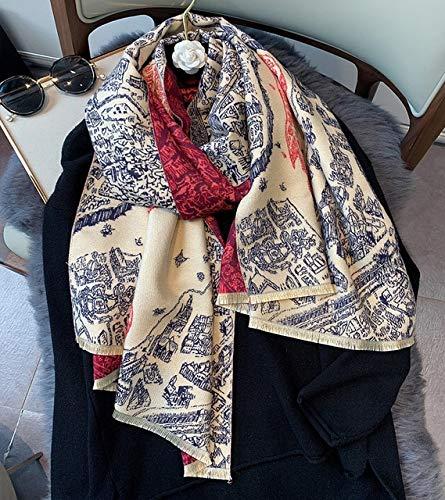 YYHAOGE Bufanda Cálida De Invierno De Lujo para Mujer, Chales, Manta Gruesa con Estampado De Caballo, Bufandas para Mujer,Rojo Vino