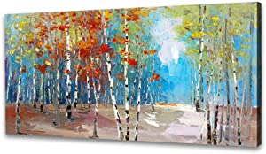 Canvas Wall Art For Living Room - Landscape Canvas Wall Art White Birch Tree Picture Nature Wall Art Canvas Painting Forest Scenery Artwork Canvas Prints Framed Wall Art for Bedroom Office Wall Decor