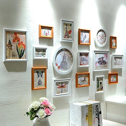 hjky Anbauwand Bilderrahmen aus Holz Composite Wall Bilder Wohnzimmer Wand Lavendel Kombination Creative Beitritt die Mauer Foto Unregelmäßige white red